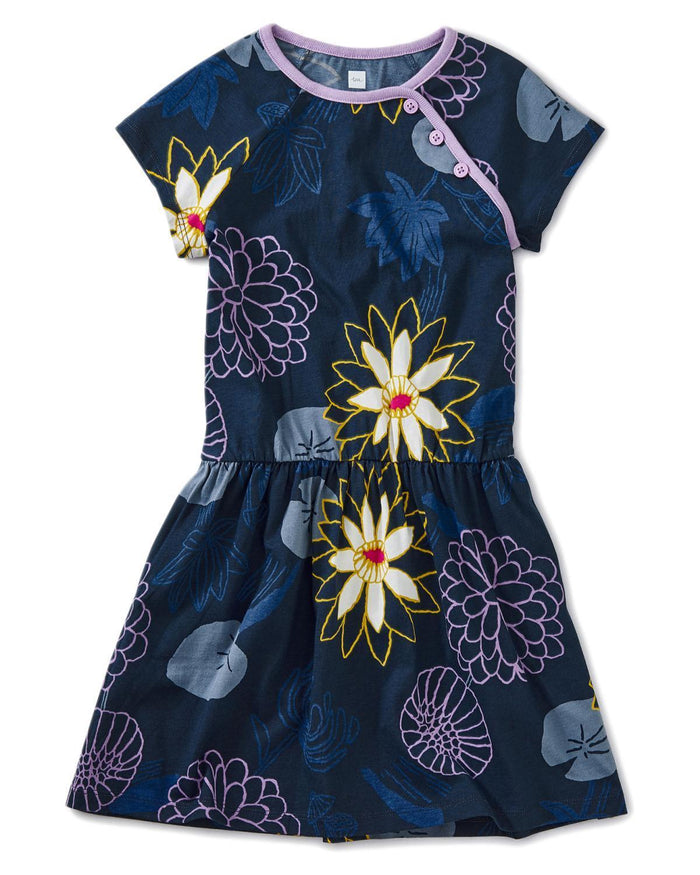 Little tea collection girl 10 printed raglan dress in lilypad floral