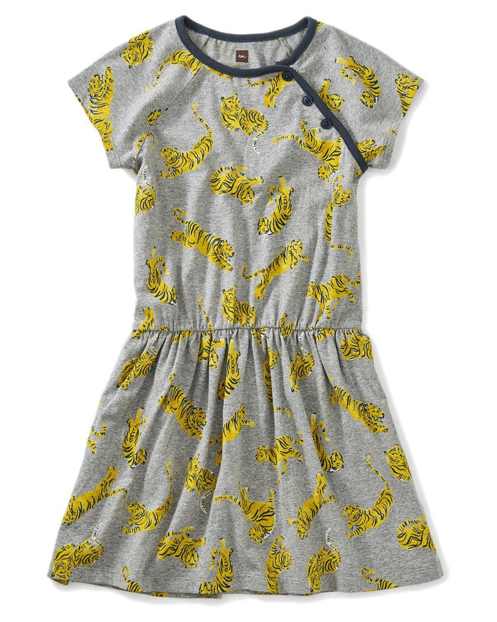 Little tea collection girl 10 printed raglan dress in tossed tigers