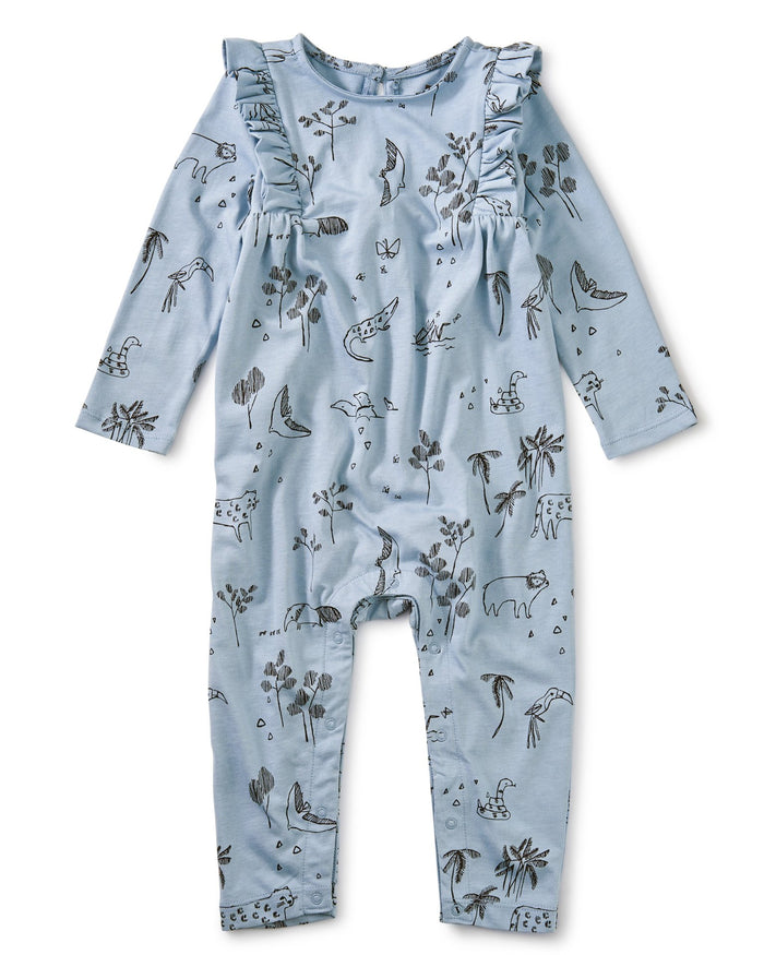 Little tea collection baby girl printed ruffle romper in peruvian pals