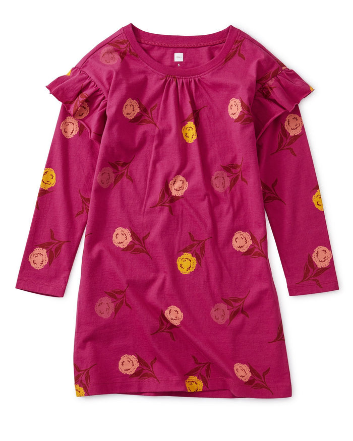 Little tea collection girl printed ruffle sleeve dress in holi