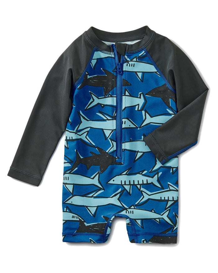 Little tea collection baby boy 12-18 printed shortie rash guard