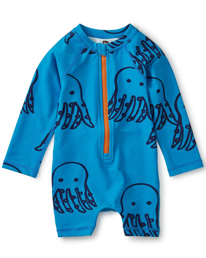 Little tea collection baby boy printed shortie rash guard in octopi + tile