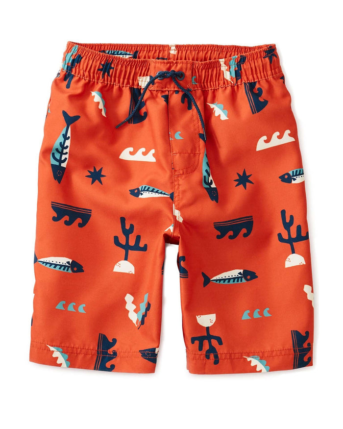 Little tea collection boy printed swim trunks in under the sea