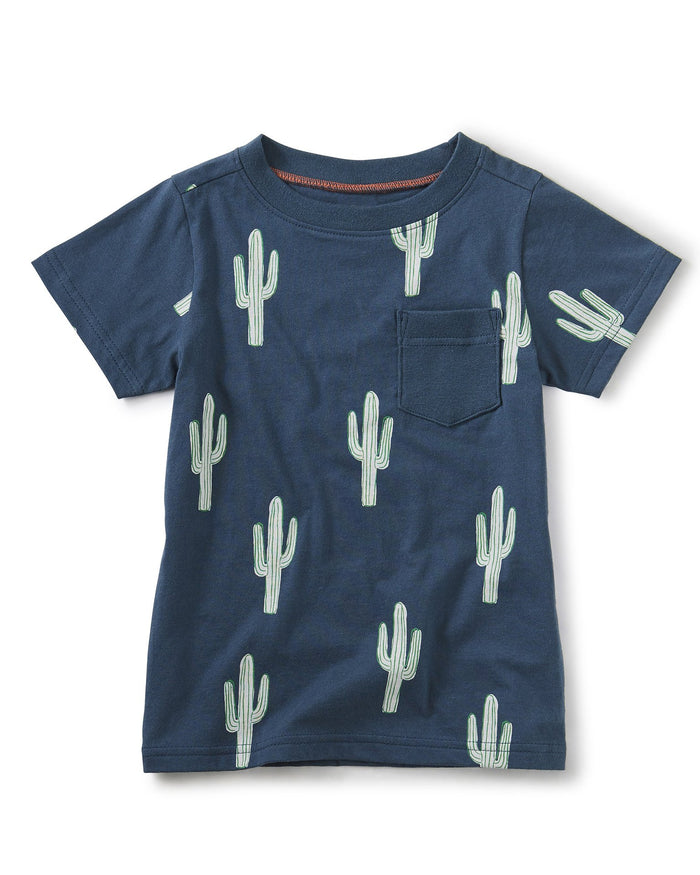 Little tea collection boy printed tee with rib pocket in cool cacti