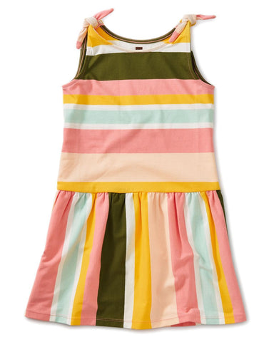 Little tea collection girl 10 printed tie shoulder dress