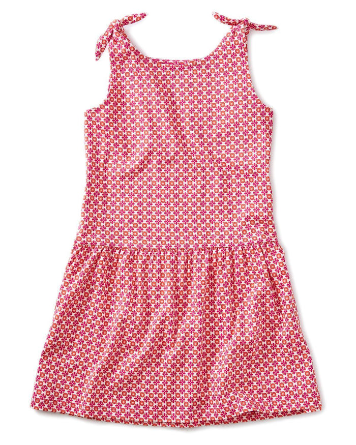 Little tea collection girl 10 printed tie shoulder dress in floral geo