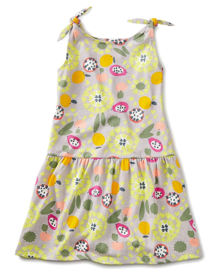Little tea collection girl 10 printed tie shoulder dress in fruit floral