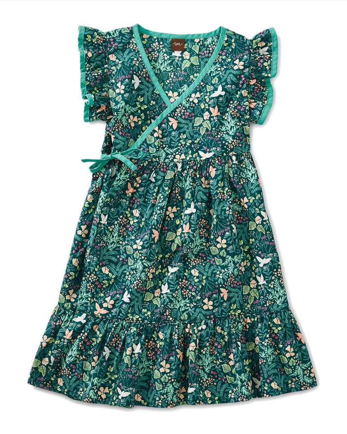 Little tea collection girl 10 printed woven wrap dress in flora and fauna
