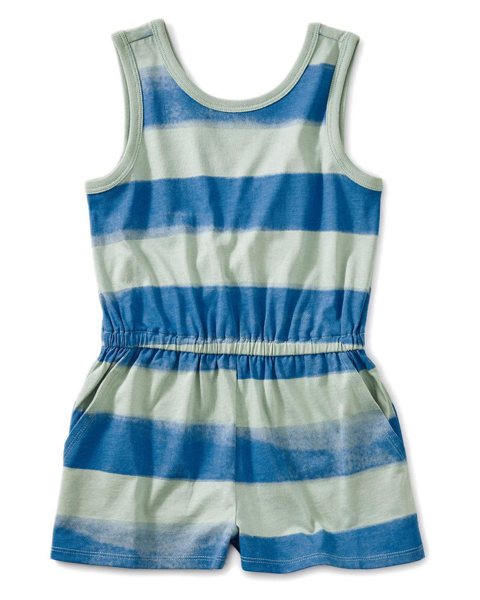 Little tea collection girl 10 printed wrap back romper in painted stripe