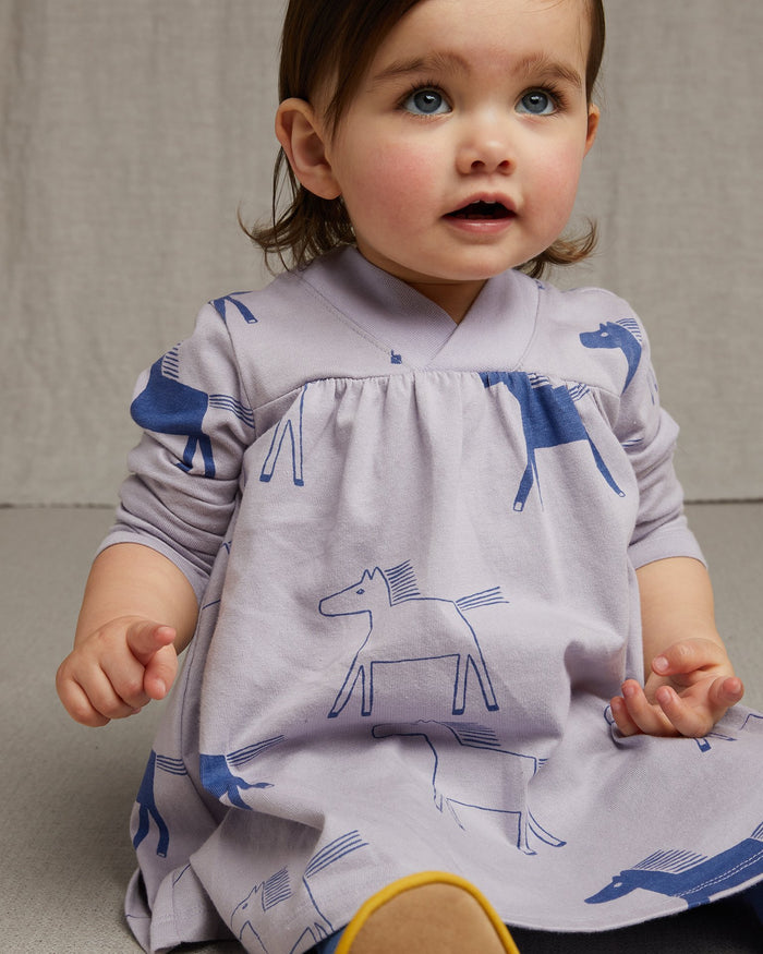 Little tea collection baby girl printed wrap neck baby dress in highland horses