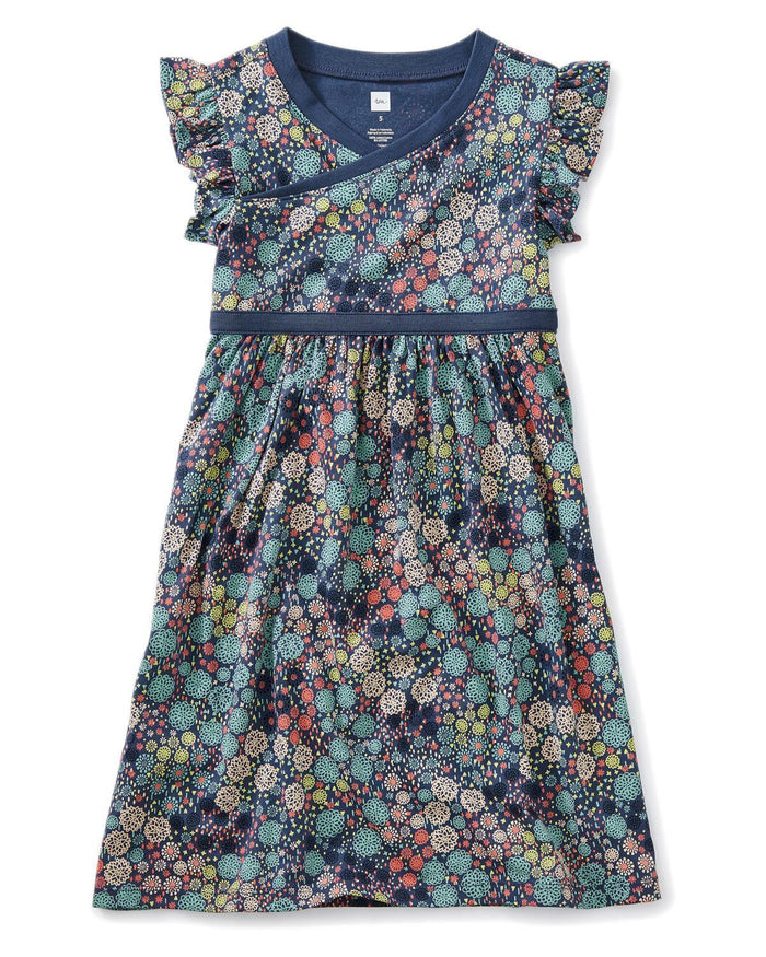 Little tea collection girl 10 printed wrap neck dress