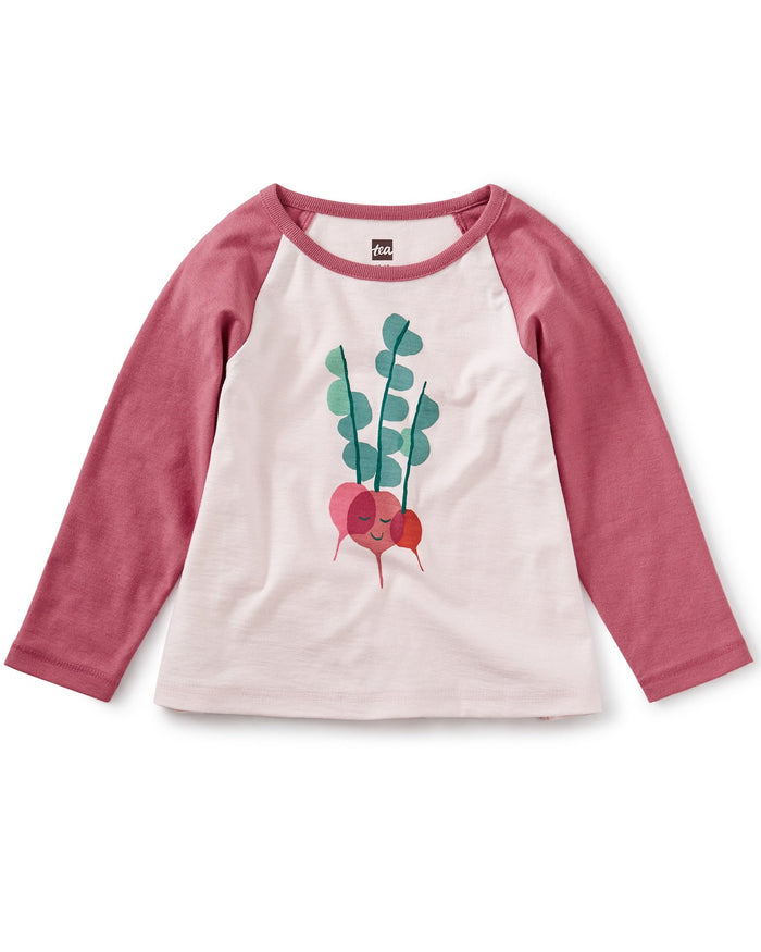 Little tea collection baby girl rad radish raglan graphic tee