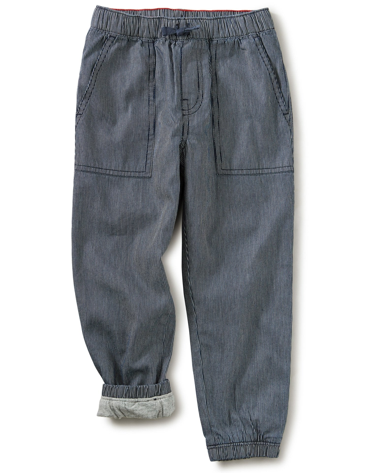 Little tea collection boy railroad lined jogger in dark garment wash