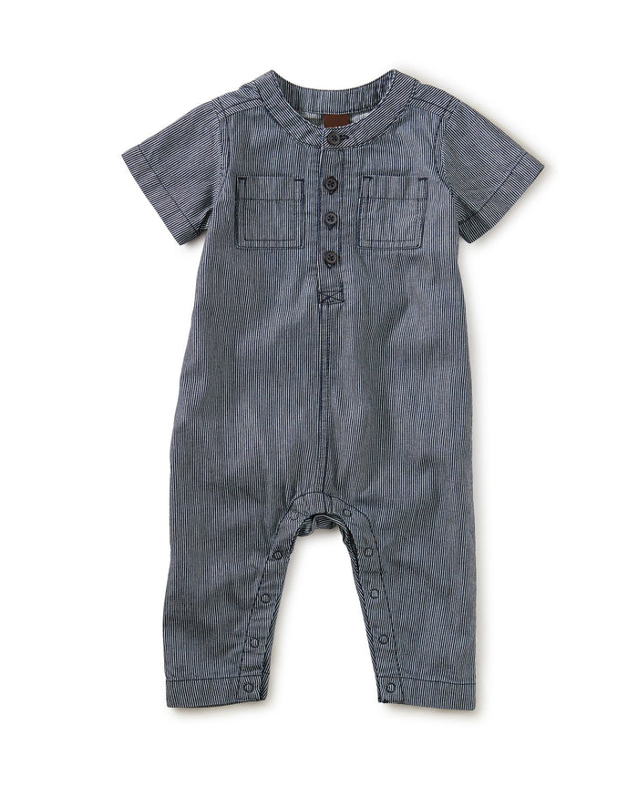 Little tea collection baby boy Railroad Stripe Henley Romper