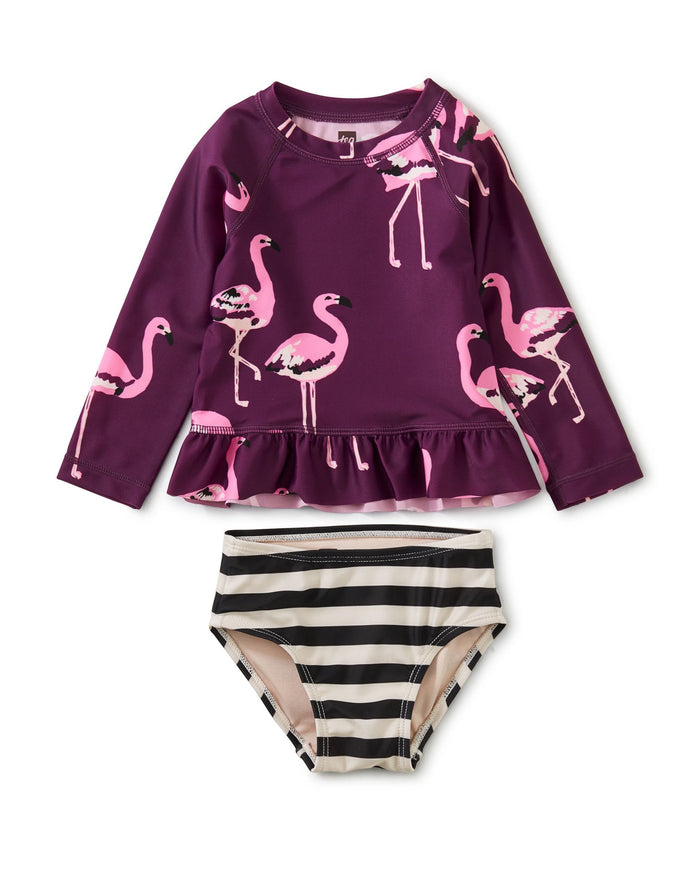 Little tea collection baby girl rash guard baby swim set in flamingo squad