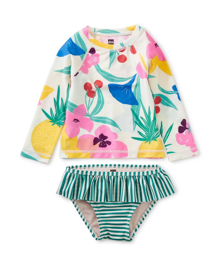 Little tea collection baby girl rash guard baby swim set in fruit floral