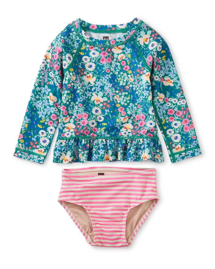 Little tea collection baby girl rash guard baby swim set in garden blues