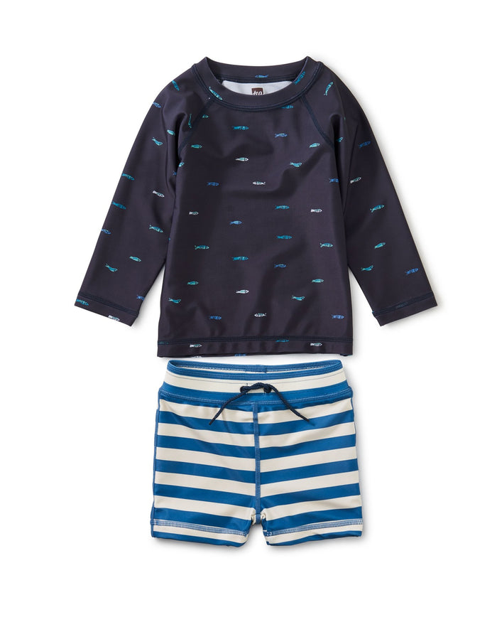 Little tea collection baby boy rash guard baby swim set in sardines