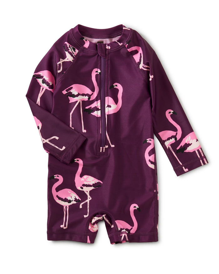 Little tea collection baby girl rash guard baby swimsuit in flamingo squad