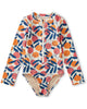 Little tea collection girl rash guard one-piece in spring citrus