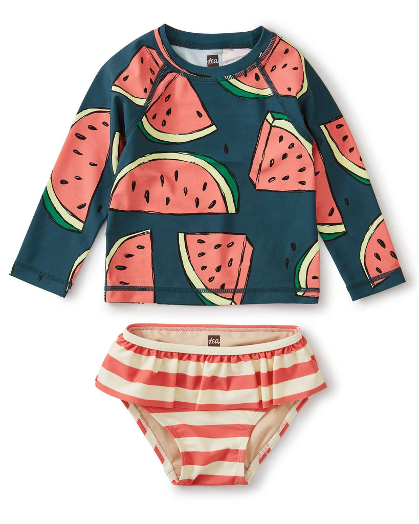 Little tea collection baby girl rash guard set in watermelons