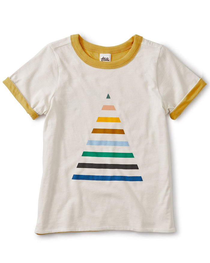 Little tea collection boy reversible pyramid tee in birch