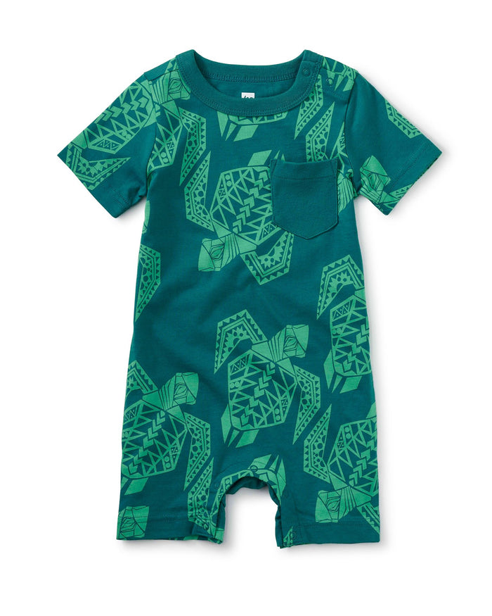Little tea collection baby boy rib pocket shortie baby romper in iberia turtles