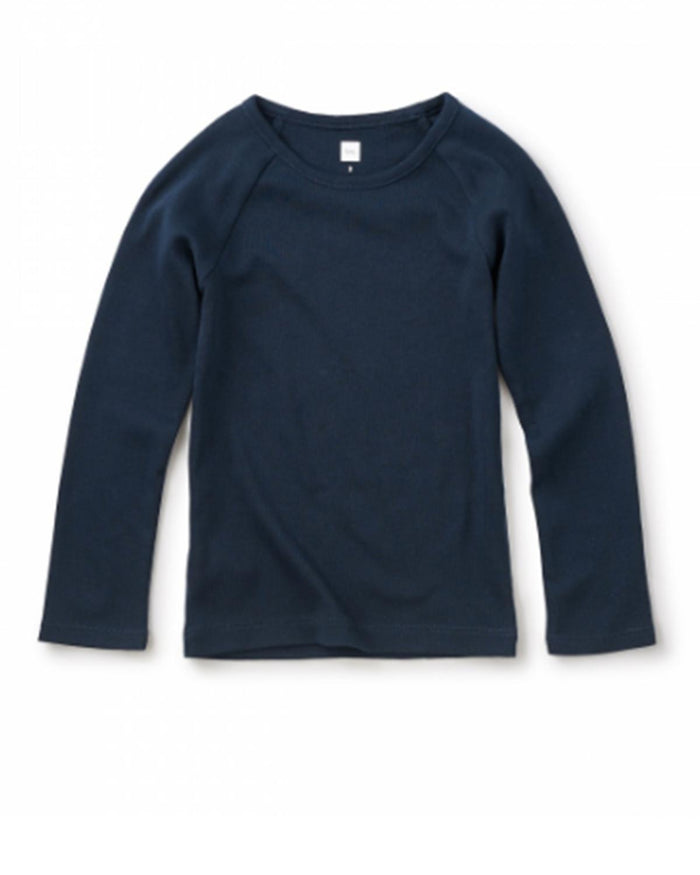 Little tea collection girl 2 Ribbed Purity Tee in Heritage Blue