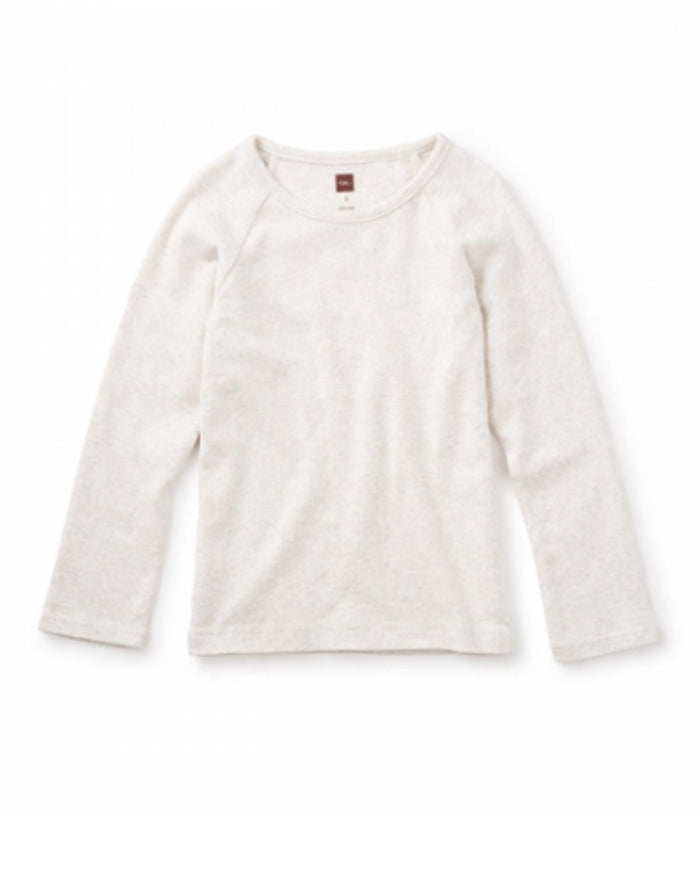 Little tea collection girl Ribbed Purity Tee in Light Oatmeal Heather