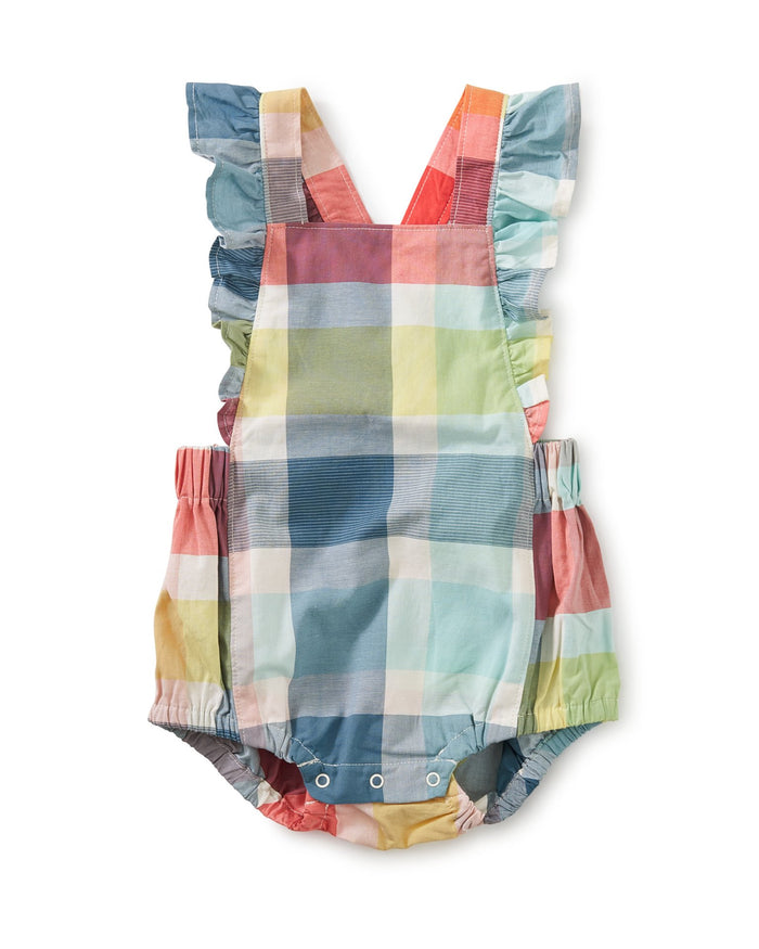 Little tea collection baby girl ruffle bubble baby romper in sintra plaid