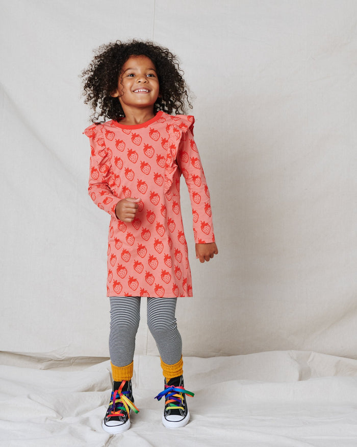 Little tea collection girl ruffle dress in fresa fields
