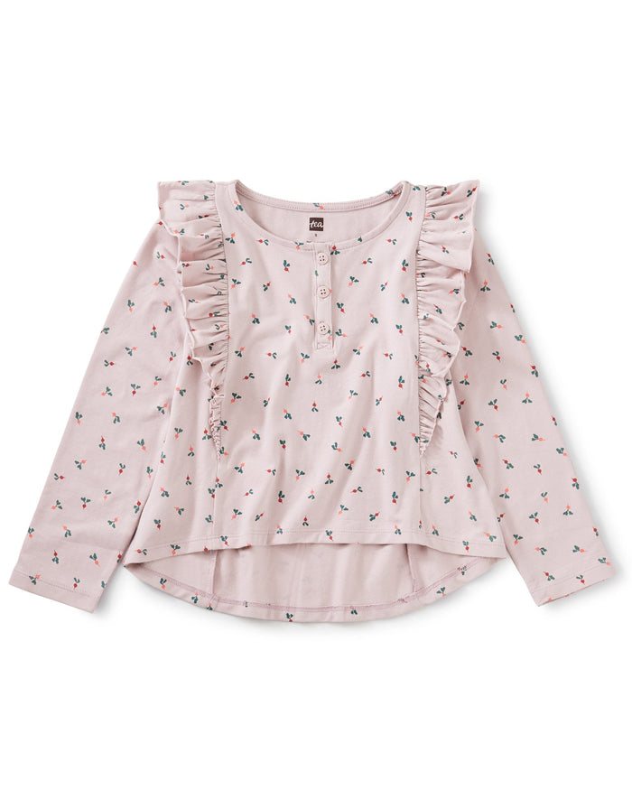 Little tea collection girl ruffle henley top in baby radish