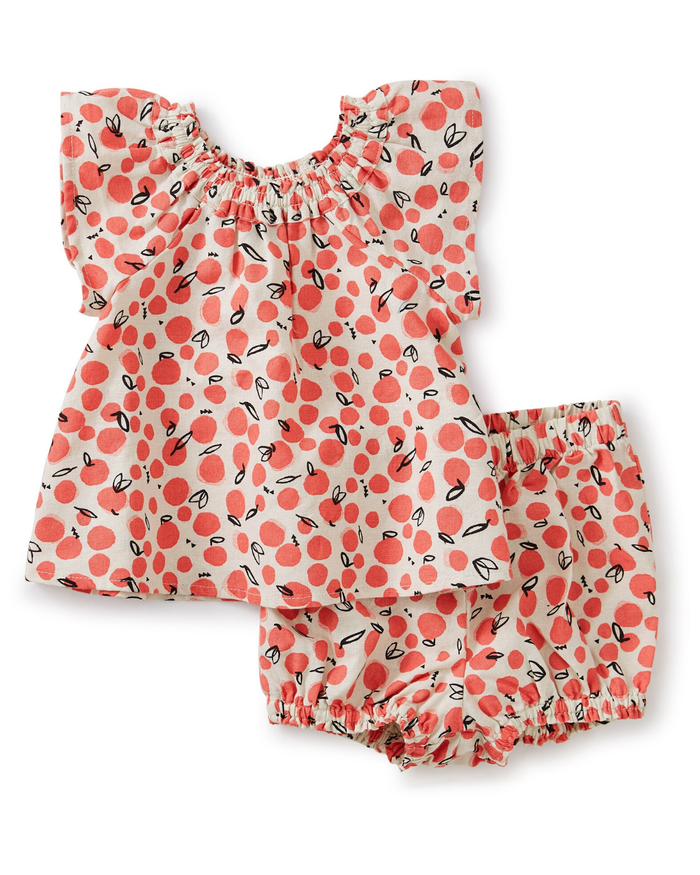 Little tea collection baby ruffle neck baby set in oasis fruit + birch
