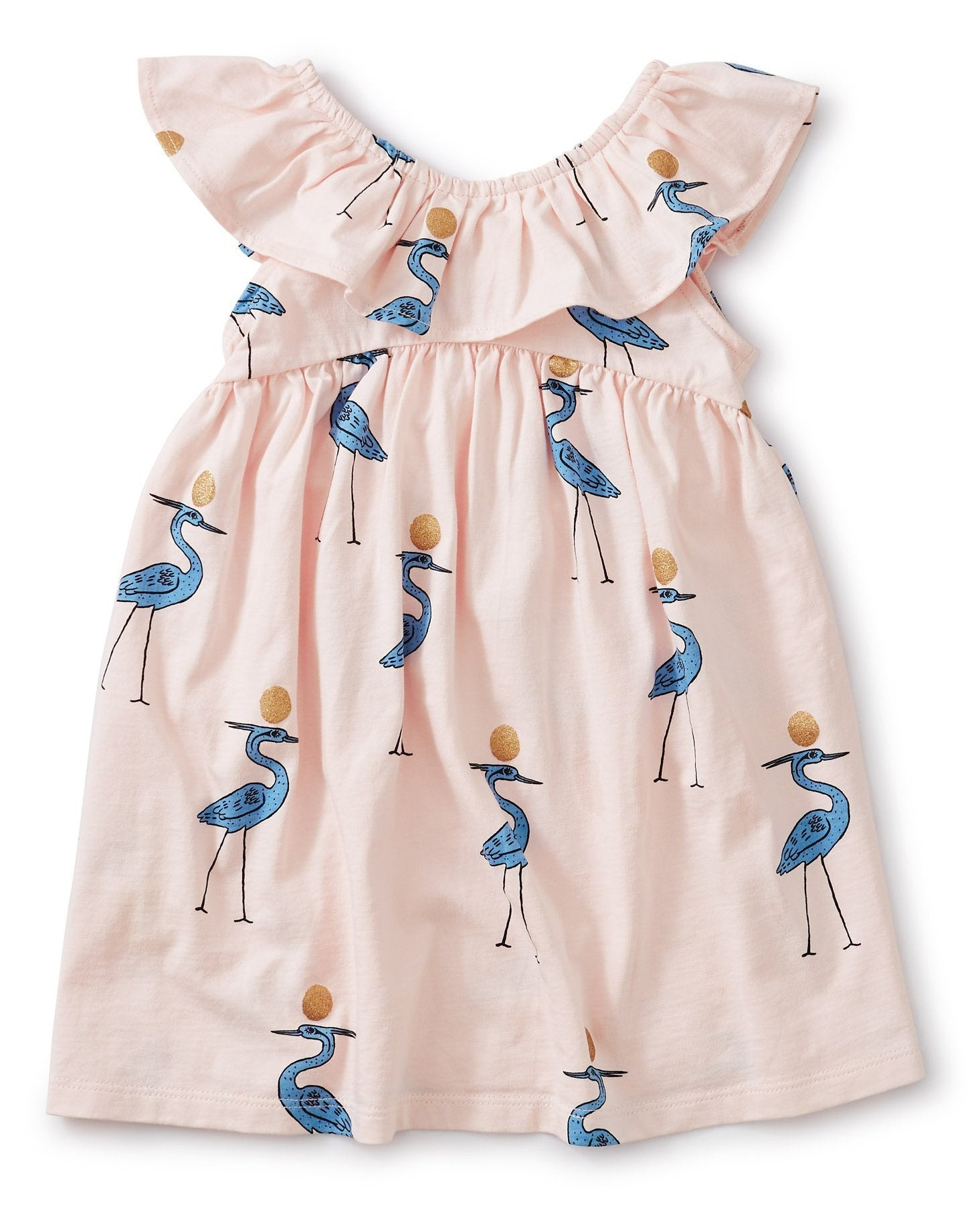 Little tea collection baby girl ruffle neck dress in sparkle ibis