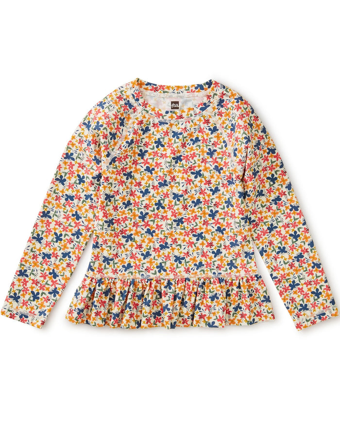 Little tea collection girl ruffle rash guard in cyprus floral