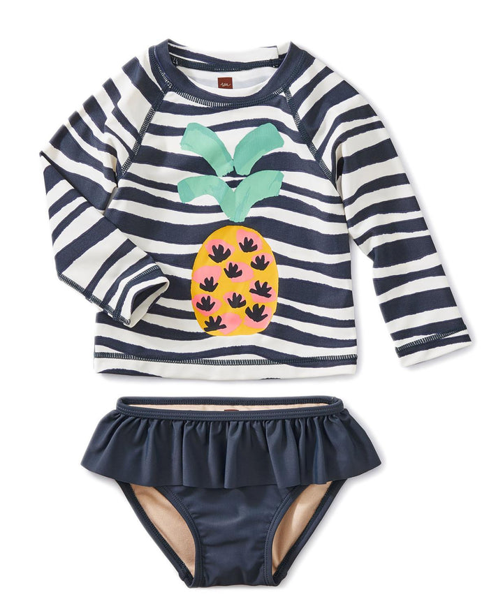 Little tea collection little girl 18-24 ruffle rash guard set