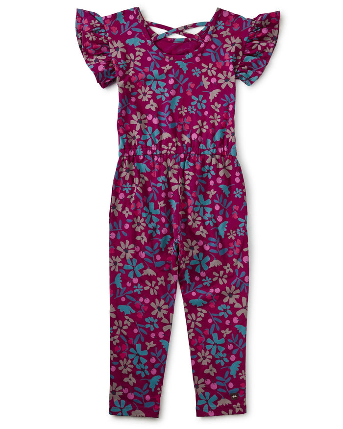 Little tea collection girl scoop back ruffle jumpsuit in machu picchu blooms