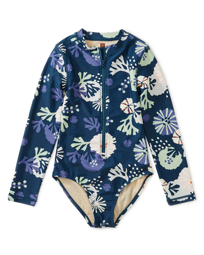Little tea collection girl sea life rash guard one-piece in sea life adventures