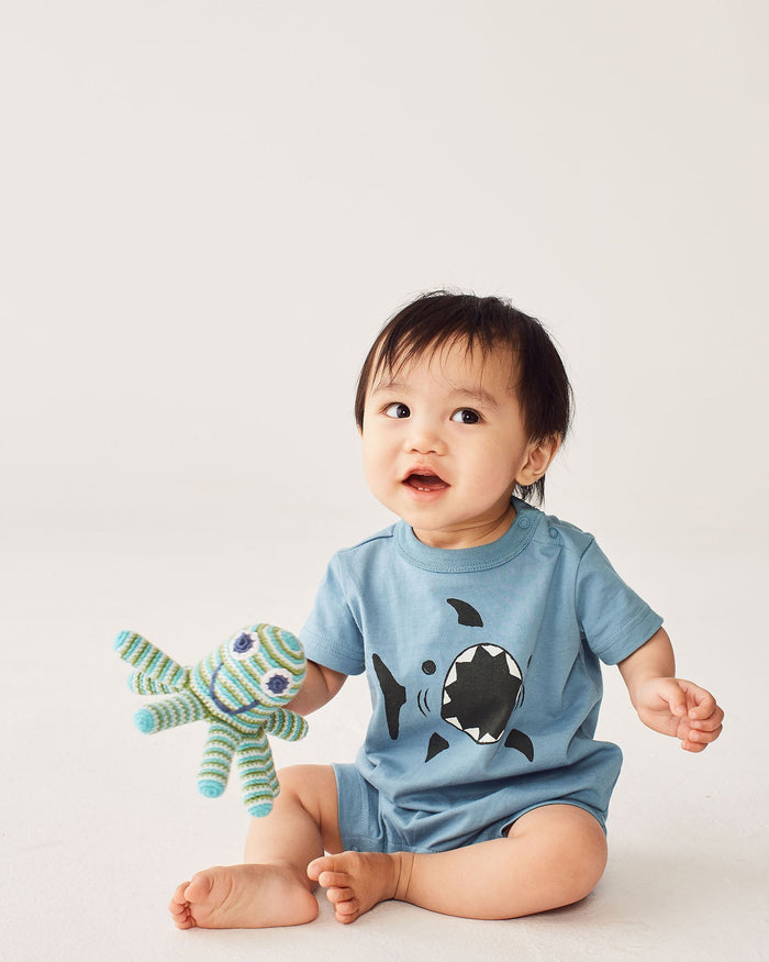 Little tea collection baby boy 0-3 shark graphic romper
