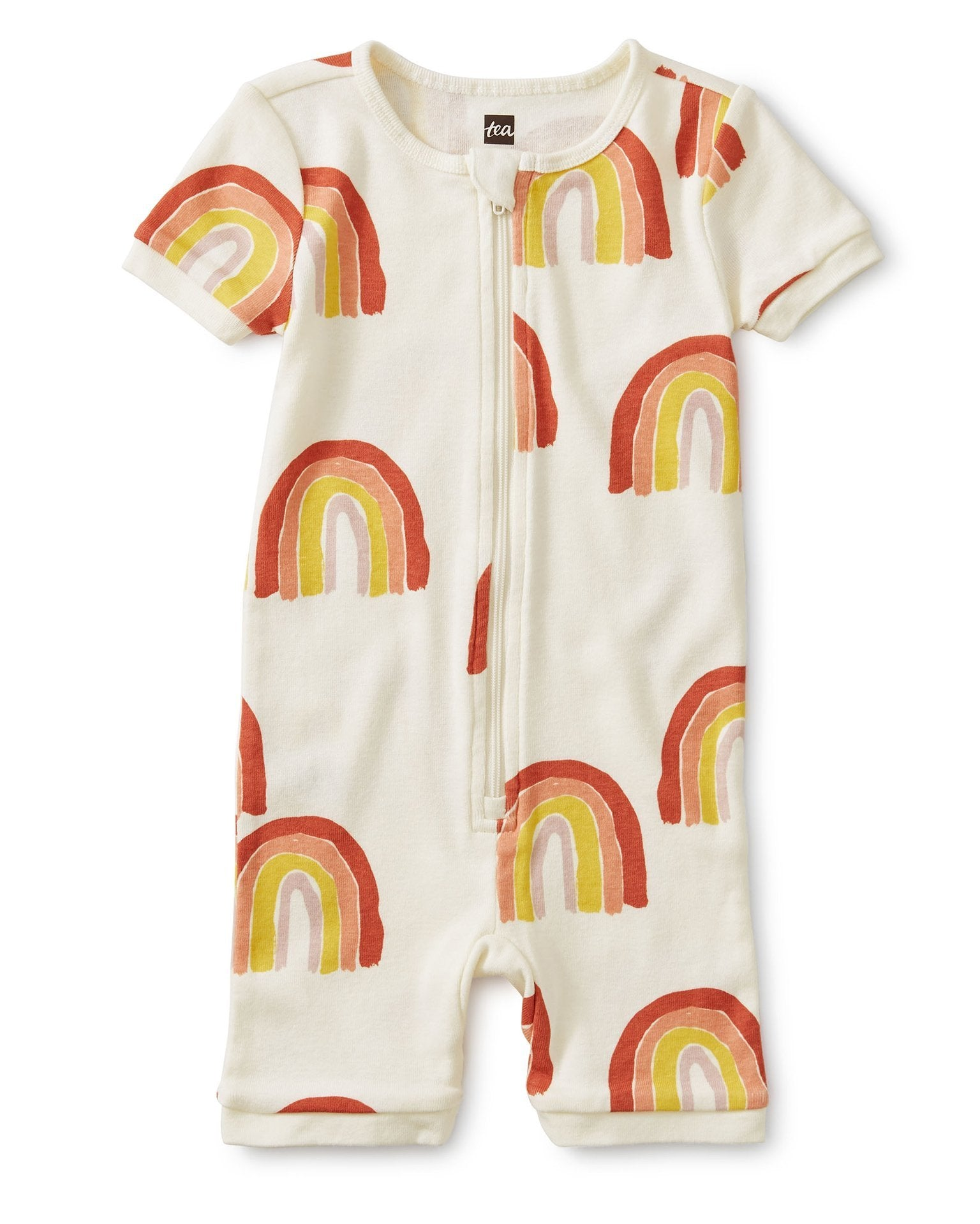 Little tea collection baby girl short sleeve baby pajamas in rainbows