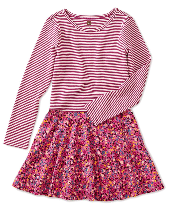 Little tea collection girl skirted dress in sunrise floral-flambe