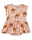 Little tea collection baby skirted romper in oasis camel + dusty coral