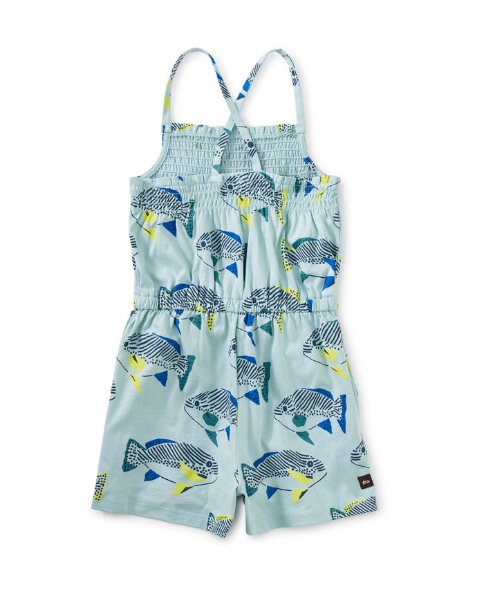 Little tea collection girl smocked romper in fresh fish