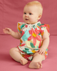 Little tea collection baby smocked romper in oasis floral