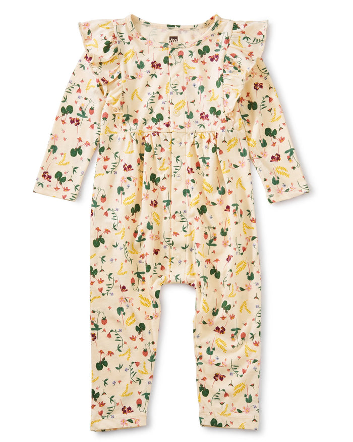 Little tea collection baby girl snap front ruffle romper in ripe strawberry