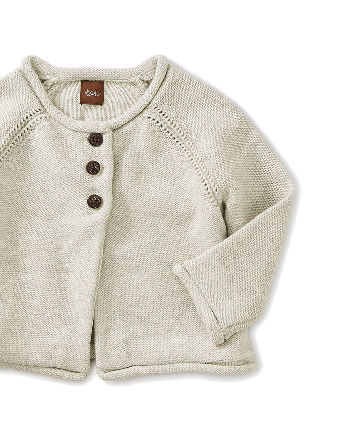 Little tea collection baby girl solid baby cardigan in light grey heather