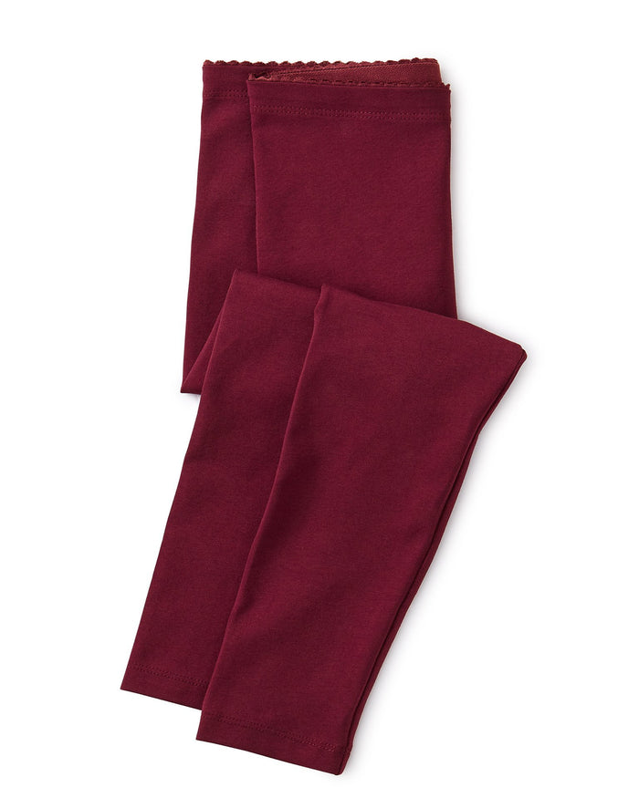 Little tea collection girl solid baby leggings in boysenberry
