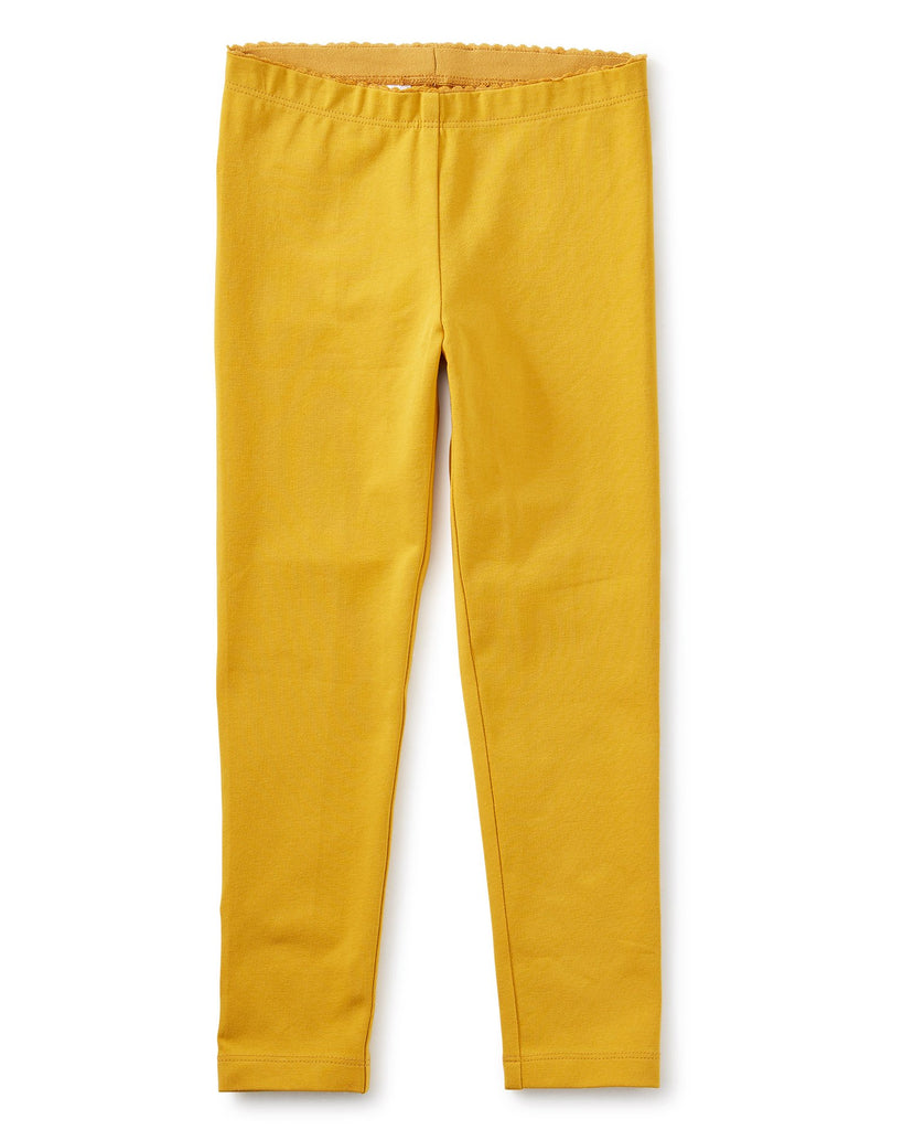 Little tea collection girl solid leggings in golden yellow