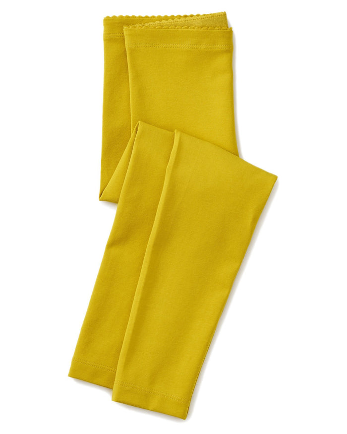 Little tea collection girl solid leggings in goldenrod