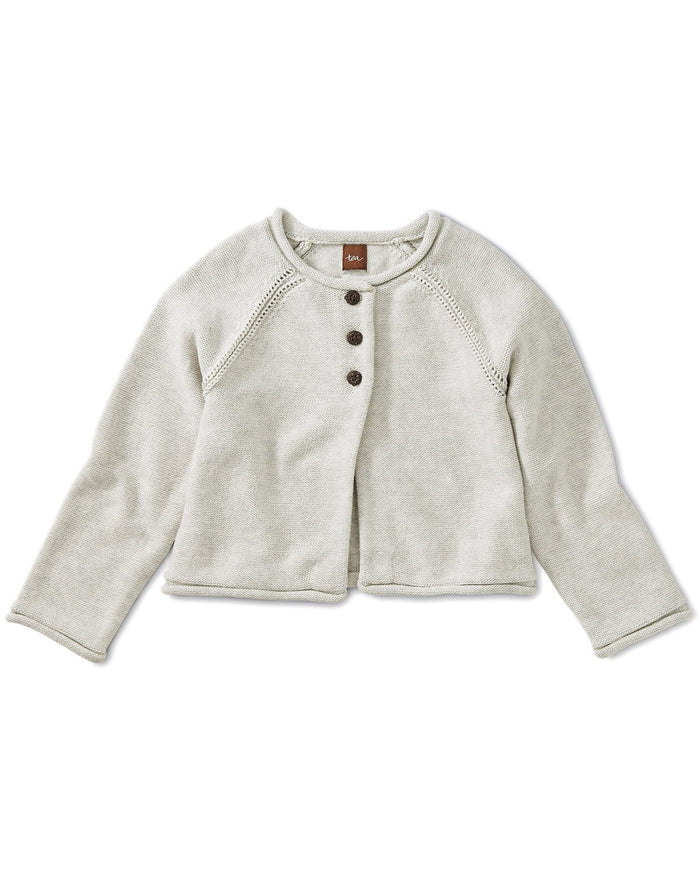 Little tea collection girl solid raglan sweater cardigan in light grey heather